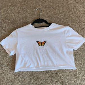 Never Worn Brandy Melville Butterfly Crop Top